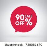 90  offer label sticker  sale... | Shutterstock .eps vector #738081670