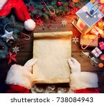 Santa Claus Desk Reading Wish...