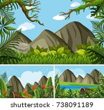 three background scenes with... | Shutterstock .eps vector #738091189