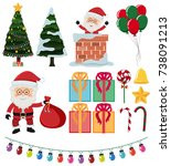 santa and christmas elements on ... | Shutterstock .eps vector #738091213
