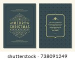 christmas greeting card design... | Shutterstock .eps vector #738091249