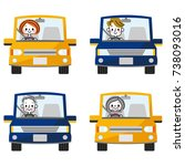 a set of people driving a car. | Shutterstock .eps vector #738093016