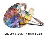 wooden palette for oil paints... | Shutterstock . vector #738096226
