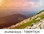 mountain landscape. amazing... | Shutterstock . vector #738097324