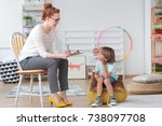 friendly young child... | Shutterstock . vector #738097708