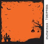 the square halloween banner... | Shutterstock .eps vector #738099886