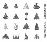 christmas tree icon set. flat... | Shutterstock .eps vector #738105190
