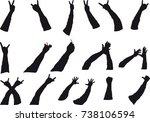 several silhouettes of hands in ... | Shutterstock .eps vector #738106594