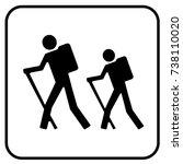 hiking sign white. vector. | Shutterstock .eps vector #738110020