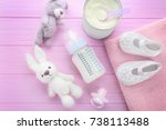 composition with feeding bottle ... | Shutterstock . vector #738113488