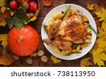 roasted turkey garnished with... | Shutterstock . vector #738113950