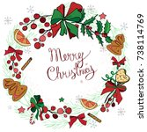 wreath with christmas... | Shutterstock .eps vector #738114769