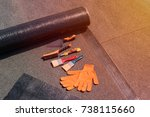 roll waterproofing  brush  wire ... | Shutterstock . vector #738115660