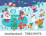 christmas landscape with cute... | Shutterstock .eps vector #738119473