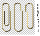 metal gold paperclips isolated... | Shutterstock .eps vector #738120523