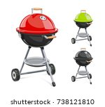 kettle for barbecue with lid.... | Shutterstock .eps vector #738121810