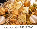 Small photo of Luxury Gold Themed Holiday Greeting Card with Gift Boxes on Festive Background , Beautiful Christmas Design Template with Assorted Decorative Gifts and Baubles for Your Seasonal Greeting