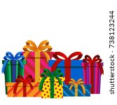 big pile of colorful christmas... | Shutterstock . vector #738123244