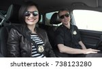 female and male smiling police... | Shutterstock . vector #738123280