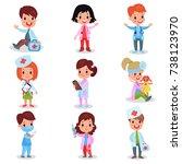 cute little kids playing doctor ... | Shutterstock .eps vector #738123970