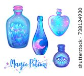magic potion  blue bottle jar... | Shutterstock .eps vector #738124930
