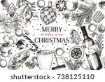 christmas menu. vector sketched ... | Shutterstock .eps vector #738125110