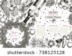 christmas menu. vector sketched ... | Shutterstock .eps vector #738125128