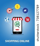 shopping online with smartphone ... | Shutterstock .eps vector #738127789