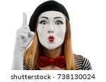 Small photo of Woman points finger up, scolding somebody. Close up on female mime actress, performing a pantomime and acting like she's a teacher or a parent.