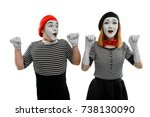 couple of mimes on white ... | Shutterstock . vector #738130090