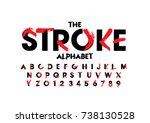 Vector of stylized brushy font and alphabet | Shutterstock vector #738130528