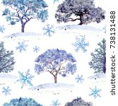 winter woods in snowflakes.... | Shutterstock . vector #738131488