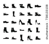 footwear shoes icon set. simple ... | Shutterstock . vector #738133108