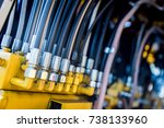 row of electronic cables... | Shutterstock . vector #738133960