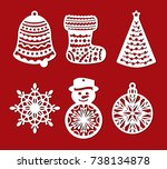 set of christmas decoration ... | Shutterstock .eps vector #738134878