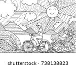 young man riding bicycle... | Shutterstock .eps vector #738138823
