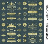 christmas labels and badges... | Shutterstock .eps vector #738140908