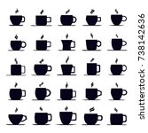 coffee cup icon vector set | Shutterstock .eps vector #738142636