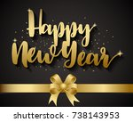 golden happy new year and gold... | Shutterstock .eps vector #738143953
