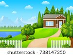 vector illustration of green... | Shutterstock .eps vector #738147250