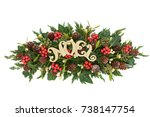 christmas decoration with gold... | Shutterstock . vector #738147754
