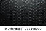 set of metal hexagons on dark...   Shutterstock . vector #738148030