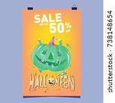 poster halloween sale and party ... | Shutterstock .eps vector #738148654