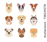 Dogs Faces Collection. Vector...