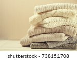 folded pastel sweaters on white ... | Shutterstock . vector #738151708