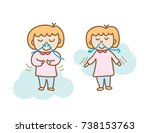 two actions cartoon of a light... | Shutterstock .eps vector #738153763