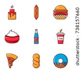 food and drink icons set. flat... | Shutterstock . vector #738157660