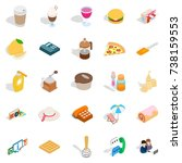 tasty food icons set. isometric ... | Shutterstock . vector #738159553