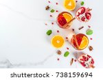 fall and winter drinks. warm... | Shutterstock . vector #738159694