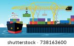 ports with cargo ships and... | Shutterstock .eps vector #738163600